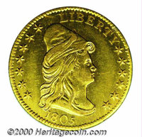 1805 $2 1/2 AU 55 Mount Removed, Cleaned. The unnaturally bright, green-gold surfaces display scattered abrasions and ha...