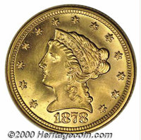 1878 $2 1/2 MS 65. The 1878 is a surprisingly difficult coin to locate at the present level. The mintage of 286,260 busi...