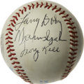 Autographs:Baseballs, Baseball Hall of Famers Multi-Signed Baseball. A total of seveninductees into the Baseball Hall of Fame in Cooperstown hav...