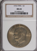 Eisenhower Dollars: , 1972 $1 Type One MS65 NGC. PCGS Population (188/4). Numismedia Wsl. Price for NGC/PCGS coin in MS65: $2...