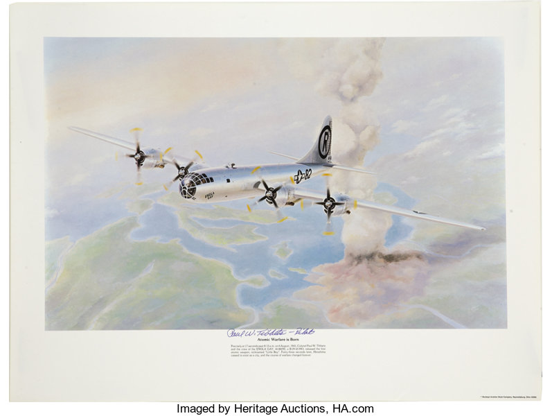 Explorers:Space Exploration, Paul Tibbets Signed Color Print of the Enola  Gay in Flight