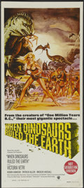 """Movie Posters:Fantasy, When Dinosaurs Ruled the Earth (Warner Brothers, 1970). Australian Daybill (13"""" X 30""""). Fantasy...."""