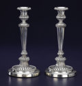 Silver Holloware, British:Holloware, A PAIR OF GEORGE III SILVER CANDLESTICKS. Matthew Boulton,Birmingham, England, 1808-1809. Marks: (lion passant), (anchor),... (Total: 2 Items)
