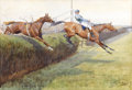 Impressionism & Modernism:post-Impressionism, LIONEL D.R. EDWARDS (British, 1878-1966). The Final Turn, 1907. Watercolor and gouache on paper. 14 x 20-1/2 inches (35....