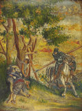 Latin American, LATIN AMERICAN SCHOOL. Don Quixote. Oil on leather. 14-1/2 x10-3/4 inches (36.8 x 27.3 cm). Inscribed verso on stretche...