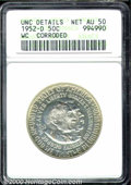 1952-D 50C Washington-Carver--Corroded--ANACS. Unc. Details, Net AU 50. Noticeable corrosion is viewed at the center of...