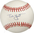 Autographs:Baseballs, Ed Yost Single Signed Baseball. The 1952 All-Star Eddie Yost, knownfor his tremendous defense and keen batting eye, makes ...