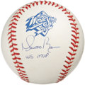 "Autographs:Baseballs, Mariano Rivera ""WS MVP"" Single Signed Baseball. The star of the1999 World Series puts a perfect 10/10 signature on a side ..."