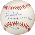 "Autographs:Baseballs, Lou Boudreau Single Signed Baseball. A glorious application of Hallof Famer Lou Boudreau's signature is joined here by ""M...."