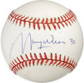 Autographs:Baseballs, Maury Wills Single Signed Baseball. Incredible major league basethief Maury Wills has applied a booming signature to the su...