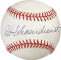 Autographs:Baseballs, Red Schoendienst Single Signed Baseball. Long-time St. LouisCardinals man Red Schoendienst offers tremendous example of hi...