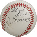 Autographs:Baseballs, Joe DiMaggio Single Signed Baseball. Exceptional example of JoeDiMaggio's coveted signature appears on the side panel of t...