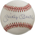 Autographs:Baseballs, Mickey Mantle Single Signed Baseball. The clean OAL (Brown)baseball seen here makes for a prime canvas for the Hall of Fam...