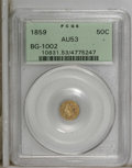 California Fractional Gold: , 1859 50C Liberty Round 50 Cents, BG-1002, High R.4, AU53 PCGS. PCGSPopulation (1/49). NGC Census: (0/10). (#10831)...