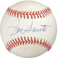 Autographs:Baseballs, Ron Santo Single Signed Baseball. The Cubs' nine-time All-Star RonSanto delivers a splendid example of his signature to th...