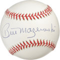 Autographs:Baseballs, Bill Mazeroski Single Signed Baseball. The hero of the 1960 WorldSeries checks in here with a perfect application of his s...