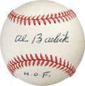 Autographs:Baseballs, Al Barlick Single Signed Baseball. The booming presence of umpireAl Barlick was felt in National League parks for over thr...