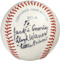 "Autographs:Baseballs, Lloyd Waner Single Signed Baseball. Personalized Hall of Famesingle on this OAL (MacPhail) ball reads ""To Jack & Connie,L..."