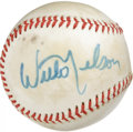 Autographs:Baseballs, Willie Nelson Single Signed Baseball. With no less than 20 No. 1hits and well over 100 albums to his credit, the country m...
