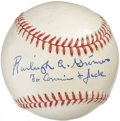 Autographs:Baseballs, Burleigh Grimes Single Signed Baseball. A nineteen-year veteran onthe mound at the major league level, Burleigh Grimes was...
