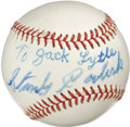 "Autographs:Baseballs, Stanley Coveleski Single Signed Baseball. The ace from thePennsylvania coal mines has signed the provided orb ""To Jack Lyt..."