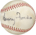 Autographs:Baseballs, Henry Fonda Single Signed Baseball. Legend of American acting HenryFonda has made the offered baseball the canvas for his ...