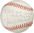 Autographs:Baseballs, Jimmy Stewart Single Signed Baseball. Unique personalized singlecourtesy of It's a Wonderful Life star Jimmy Stewart. ...