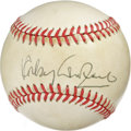 Autographs:Baseballs, Rocky Graziano Single Signed Baseball. Knockout artist RockyGraziano makes the offered ONL (Feeney) orb the canvas for his...