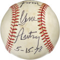 "Autographs:Baseballs, Gene Autry Single Signed Baseball. The famed ""Singing Cowboy"" GeneAutry was also known for his involvement in baseball, ho..."