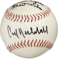 Autographs:Baseballs, Carl Hubbell Single Signed Baseball. The lefty screwballer ownedopponents in the 1930s, ringing up five consecutive 20-win...