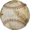 Autographs:Baseballs, Babe Ruth Single Signed Baseball While the sweet spot signature onthis Official American League orb with blue and red stit...
