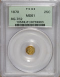 California Fractional Gold: , 1870 25C Liberty Octagonal 25 Cents, BG-762, Low R.4, MS61 PCGS.PCGS Population (13/48). NGC Census: (2/1). (#10589)...