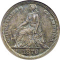 Patterns: , 1870 H10C Half Dime, Judd-815, Pollock-904, Low R.7, PR66 NGC.William Barber's Seated Liberty design. She faces left, with...