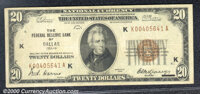 1929 $20 Federal Reserve Bank Note (Dallas), Fr-1870-K, Fine. A no-problem, solid circulated note.You may bid on this lo...