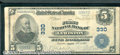 National Bank Notes:Maine, First National Bank of Lewiston, ME, Charter #330. 1902 $5 Thir...