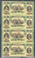 Obsoletes By State:Louisiana, $5, Citizens' Bank of Louisiana, New Orleans, 10/9/1860, Uncut ...