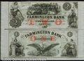 Obsoletes By State:New Hampshire, $2; $1, The Farmington Bank, NH, Uncut Pair, AU. A beautiful pa...
