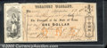 Miscellaneous:Republic of Texas Notes, $1, Treasury Warrant, Austin, TX, 1/14/1862, M/C TW-2, Fine-VF....