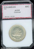 1892 50C Columbian AU 58 Cleaned PCI. Smoky golden-gray patina overlays the unnaturally glossy surfaces....(PCGS# 9296)