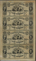Obsoletes By State:Louisiana, The Canal Bank, New Orleans, LA, Uncut sheet of four 5 dollar n...