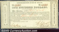 Miscellaneous:Republic of Texas Notes, $100, Consolidated Fund of Texas, Houston, 9/1/1837, CF-1, CU. ...