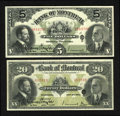 Canadian Currency: , Montreal, PQ- The Bank of Montreal $5, $20 Nov. 3, 1914 Ch. #505-54-04, 505-54-12. ... (Total: 2 notes)