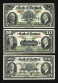 Canadian Currency: , Montreal, PQ- The Bank of Montreal $20, $5, $10 Jan. 2, 1935, Jan.3, 1938. ... (Total: 3 notes)