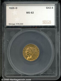 1925-D $2 1/2 MS 62 SEGS. Richly toned with deep golden surfaces and a touch of rose, this fully struck coin shows only...