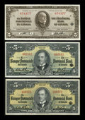 Canadian Currency: , Montreal, PQ- La Banque Provinciale du Canada $5 (3) Jan. 2, 1935,Sept. 1, 1936 (2) Ch. # 615-16-02, 615-18-02, 615-18-04. ...(Total: 3 notes)