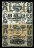 Canadian Currency: , Toronto, CW- The International Bank of Canada $1 (2), $2, $5 Sept. 15, 1858 Ch. # 380-10-08-04, 380-10-08-12, 380-10-10-... (Total: 4 notes)