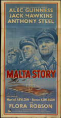 "Movie Posters:War, Malta Story (GFD, 1953). British Three Sheet (40"" X 78""). War...."