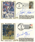 Football Collectibles:Others, Walter Payton and Eric Dickerson Signed First Day Covers with Payton Signed Card. Each of the two first day covers presente...