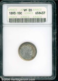 1893 10C VF 20 ANACS. Colorful album toning covers the curiously bright, hairlined surfaces. ...(PCGS# 4800)