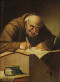 Fine Art - Painting, European:Antique  (Pre 1900), CARL SCHLEICHER (Austrian, active 1855-1871). The Scribe. Oil on panel. 8-5/8 x 6-1/4 inches (21.8 x 15.9 cm). Signed up...